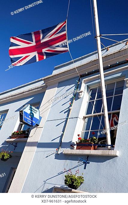 England Devon Dartmouth Conservative Club Detail of Union Jack Flag
