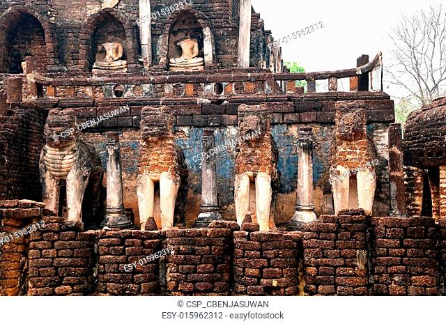 The Ruin of sculpture elephant of Si Satchanalai historical park at sukhothai province,Thailand