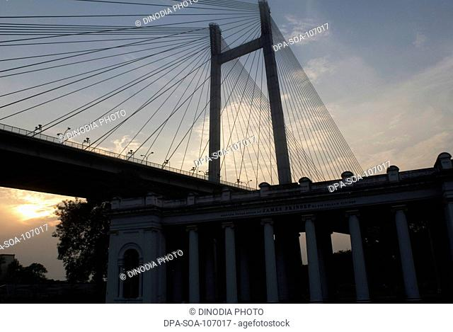 Vidyasagar Setu  A second bridge on the river Hooghly is one of the latest attractions of the city  ; Kolkata ; West Bengal ; India