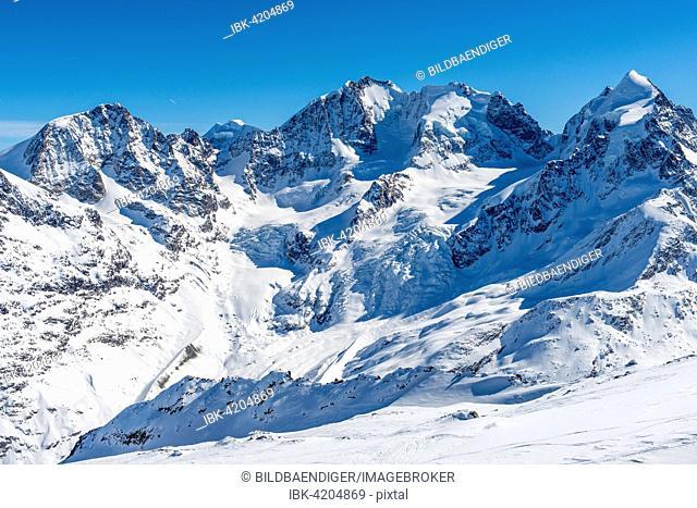 View of the Bernina Group, Piz Morteratsch on the left, Piz Bernina in the centre, Piz Scerscen on the right, Piz Roseg, Swiss Alps, Engadin