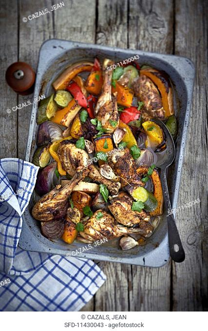 Oven-baked chicken and vegetables