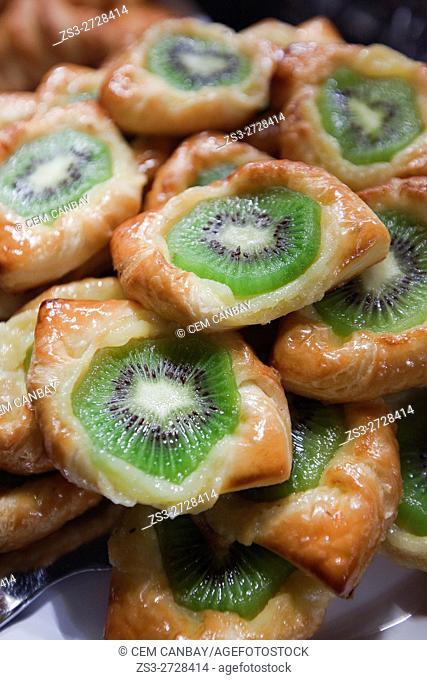 Pastry filled with kiwi, Istanbul, Marmara Region, Turkey, Europe