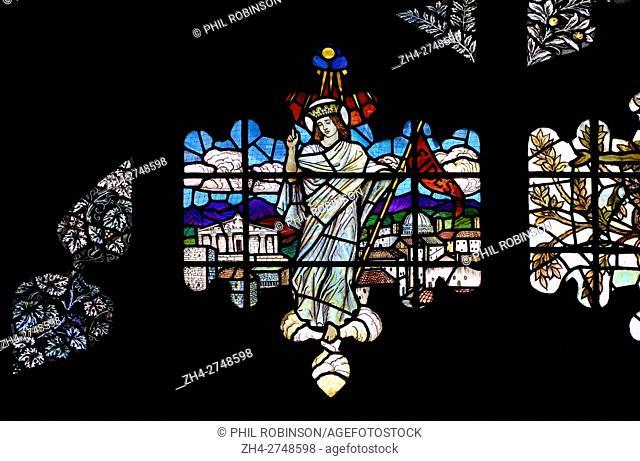 London, England, UK. Holy Trinity Church, Sloane Street. Stained glass window: Faith (Fides)