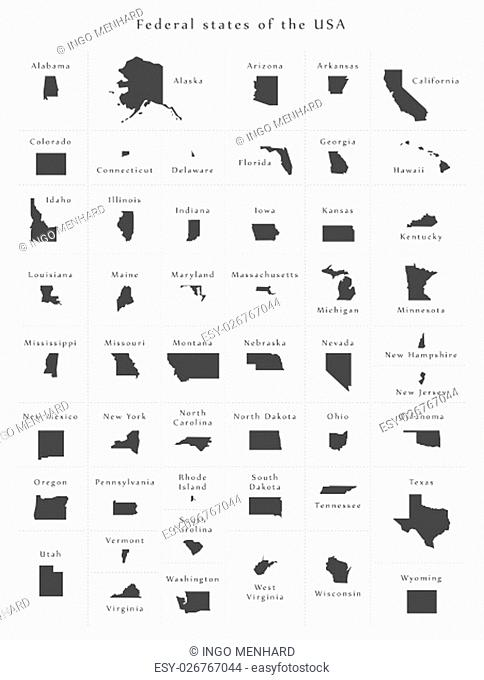 USA all federal states overview Black and White