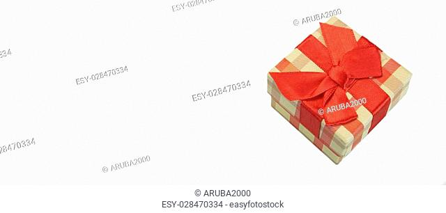 Checkered Single Gift Box With Beige Red Tartan Pattern, Red Ribbon And Bow, Isolated On White Background, Horizontal Image With Copy Space, Top View