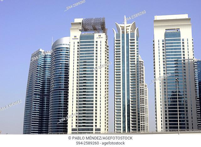 Dubai Marina skyscrapers of Dubai, United Arab Emirates