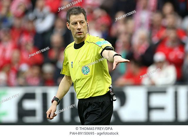 Referee Wolfgang Stark during the German Bundesliga soccer match between FSV Mainz 05 and FC Schalke 04 at the Opel Arenain Mainz,Germany, 19 March 2017