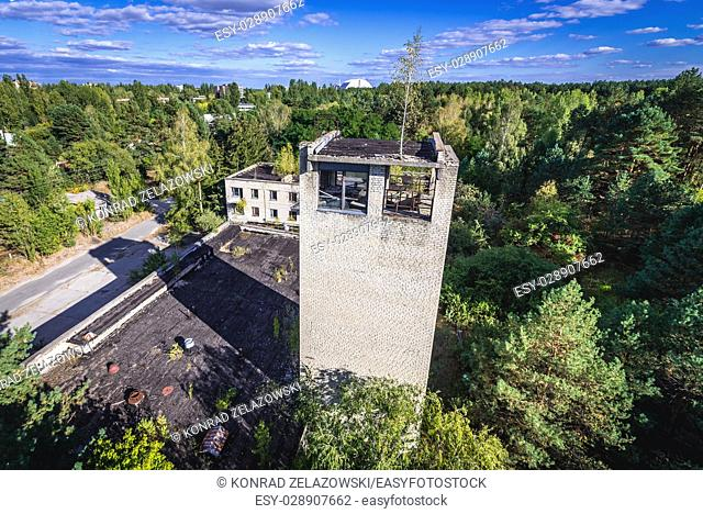 Fire station seen from fire lookout tower in Pripyat ghost city of Chernobyl Nuclear Power Plant Zone of Alienation in Ukraine