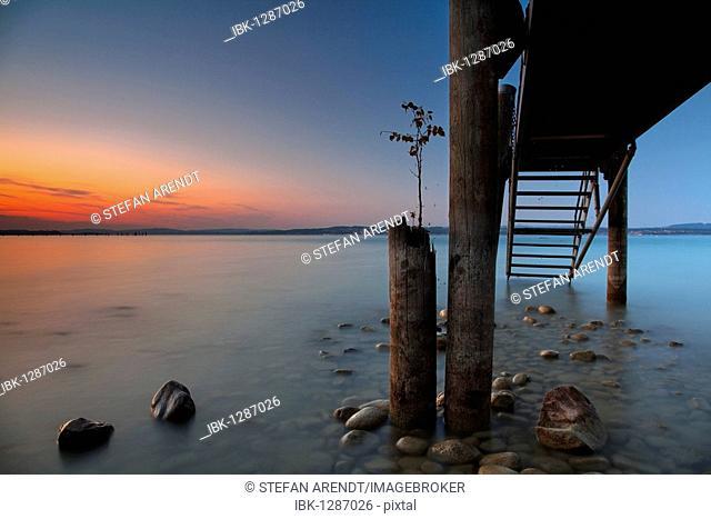 Altnau Pier at sunset at Lake Constance, Switzerland, Europe