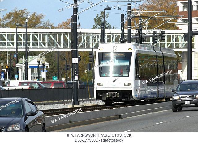 NORFOLK Va. The Tide Light Rail System. Tramway