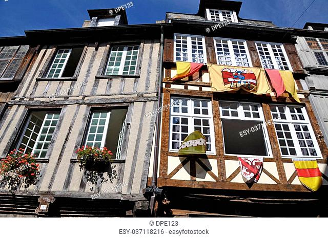 Medieval half-timbered buildings in the ancient french town of Dinan in Brittany