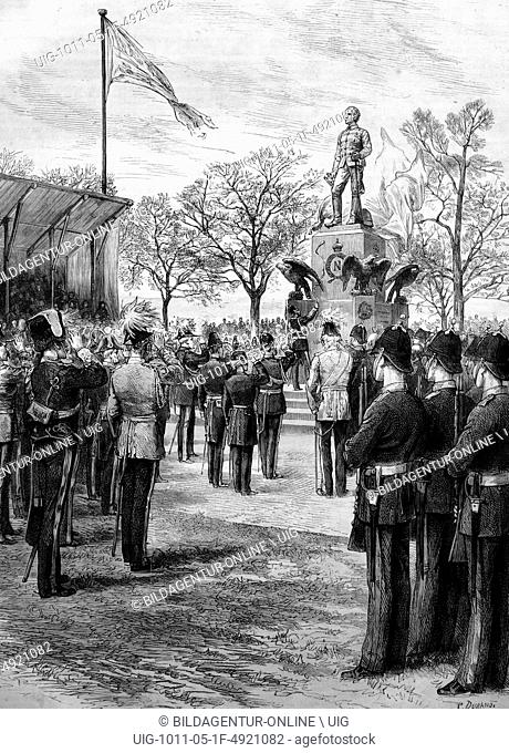 The prince of wales unveiling count gleichen's statue of the prince imperial in the grounds of the royal military academy at woolwich, england