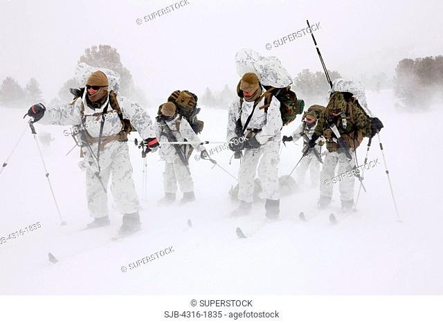 U.S. Marines Ski and Tow an Injured Marine in a Blizzard
