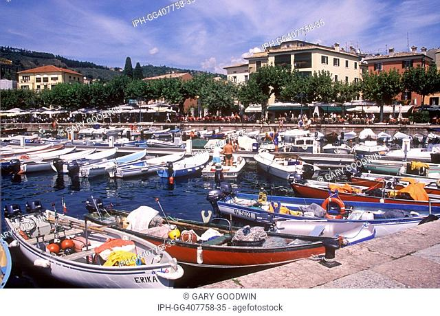 View from the picturesque harbour at the lakeside resort of Garda on Lake Garda