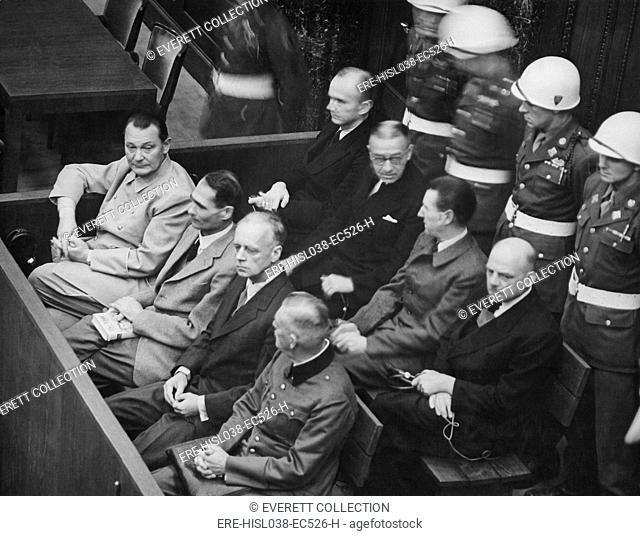 Herman Goering, Rudolf Hess, Joachim von Ribbentrop, and Wilhelm Keitel in the dock at Nuremberg. Nov. 1945-Oct. 1946. (BSLOC-2014-13-4)