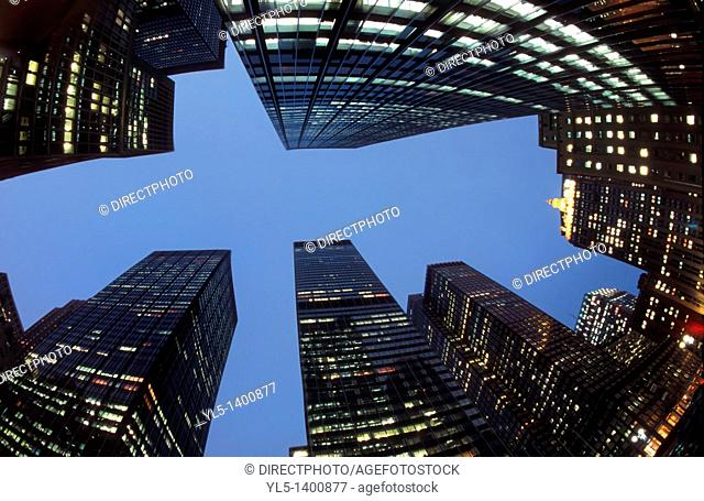 New York, NY , U S A  - Looking up, Cityscape, Buildings on Park Avenue Financial District, Night, Fish-eye Effect