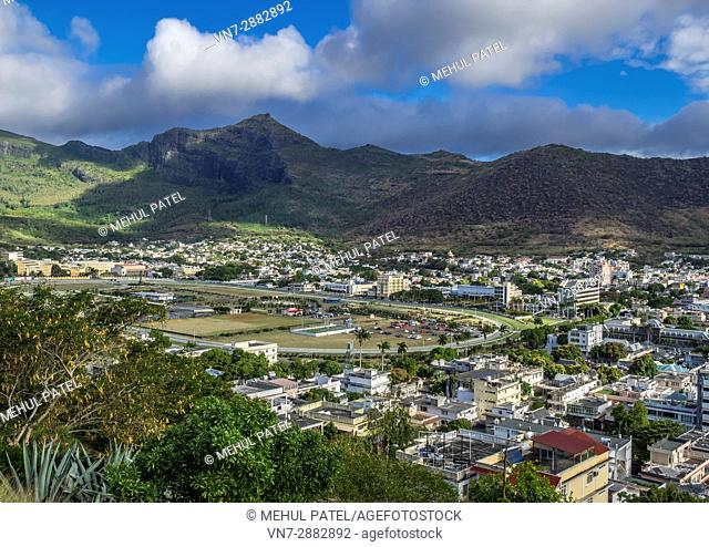 Viewpoint looking over city of Port Luis and Champs de Mars racecourse, Port Luis, Mauritius. Port Luis is the capital city of the island of Mauritius situated...