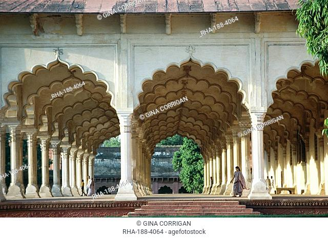 Arches, the Red Fort, Agra, UNESCO World Heritage Site, Uttar Pradesh state, India, Asia