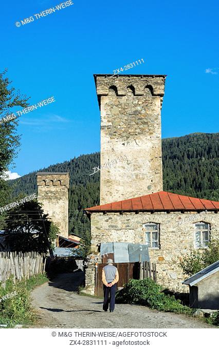 Traditional medieval Svanetian tower houses, Lashtkhveri village, Svaneti region, Georgia, Caucasus, Middle East, Asia, Unesco World Heritage Site