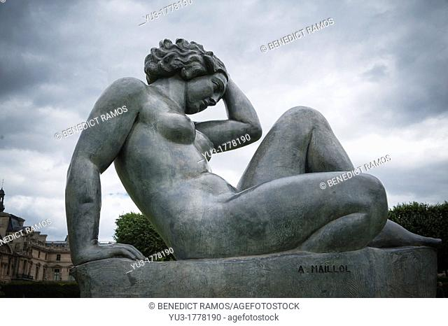 Sculpture of a female nude by Aristide Maillol in the Tulieries, Paris, France