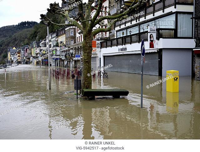 DEU , GERMANY : Flooding of Mosel river in Cochem , 07.01.2018 - Cochem, Rhineland-Palatinate, Germany, 07/01/2018