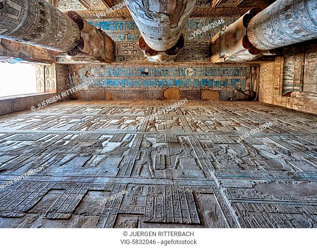 EGYPT, QENA, 07.11.2016, ceiling with colored stone carving and columns of Hathor temple in ptolemaic Dendera Temple complex, Qena, Egypt, Africa - Qena, Egypt