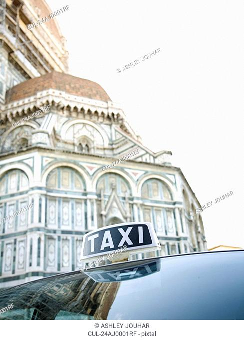 Taxi outside the Duomo, Florence, Italy
