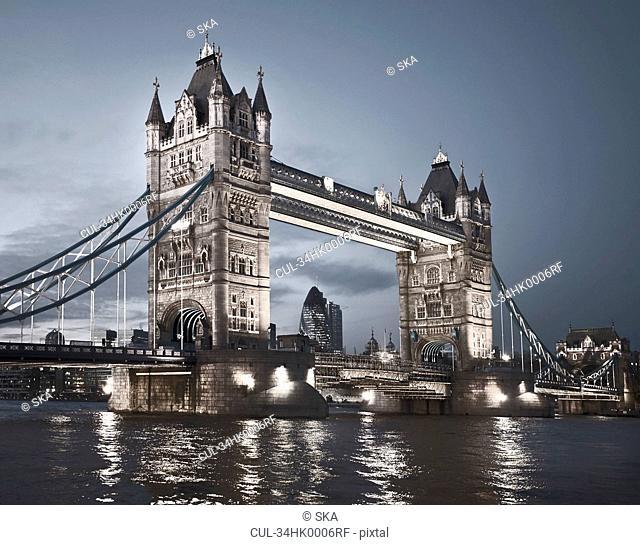 Tower Bridge lit up at night
