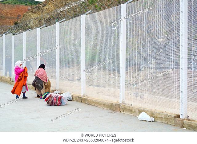 EU funded fence between Fnideq in Morocco and Spanish enclave of Ceuta, northern Africa