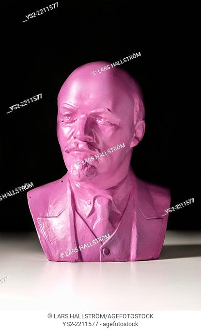 Pink bust of famous russian communist politician and leader Vladimir Lenin