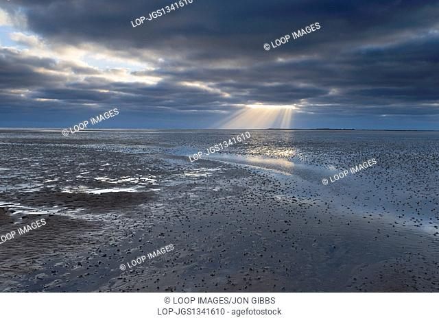 Dramatic light at low tide on the mudflats at Stiffkey