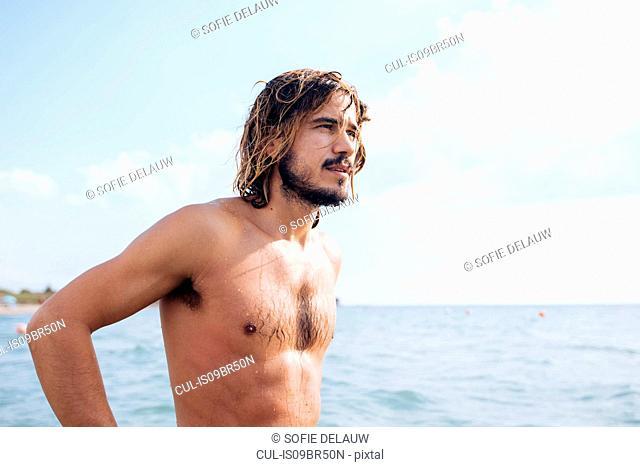 Man at seaside