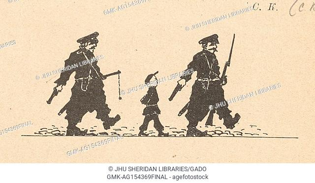 Cartoon from the Russian satirical journal Na Rasputi (At the Crossroads) depicting two men in police uniforms with weapons marching with a young boy in school...