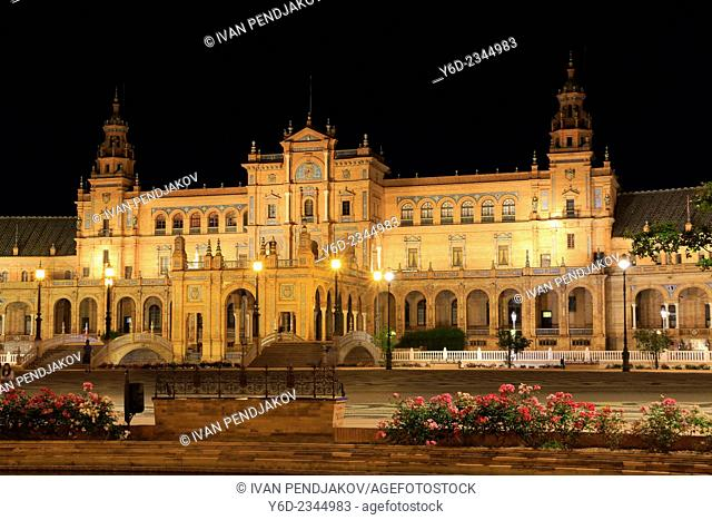 Plaza de Espana at Night, Seville, Andalusia, Spain