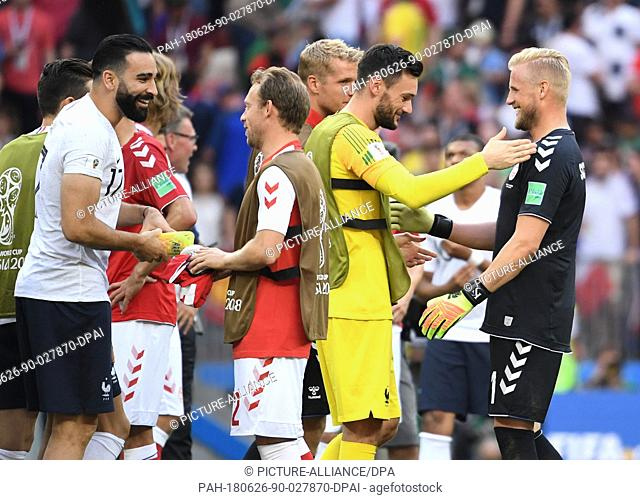 26 June 2018, Russia, Moscow: Soccer, World Cup 2018, Preliminary round, Group C, 3rd game day, Denmark vs. France at the Luschniki Stadium: