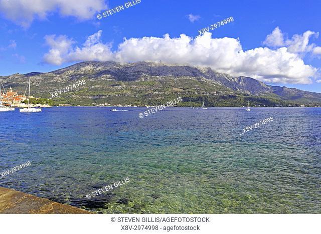 Pelješac peninsula and Korcula Town, Korcula Island, Croatia, Dalmatia, Dalmatian Coast, Europe