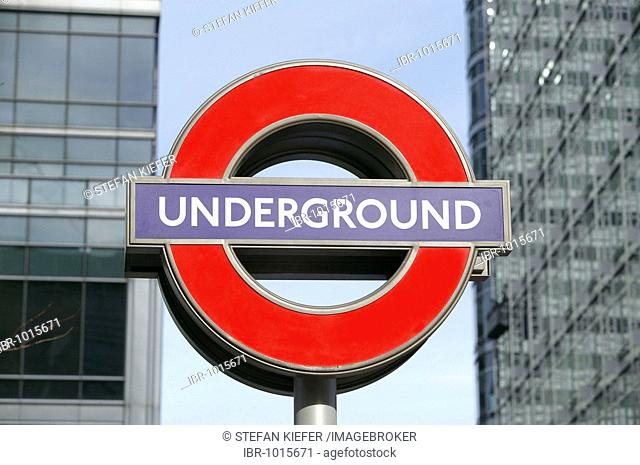 Tube sign at Canary Wharf station in London, England, Great Britain, Europe