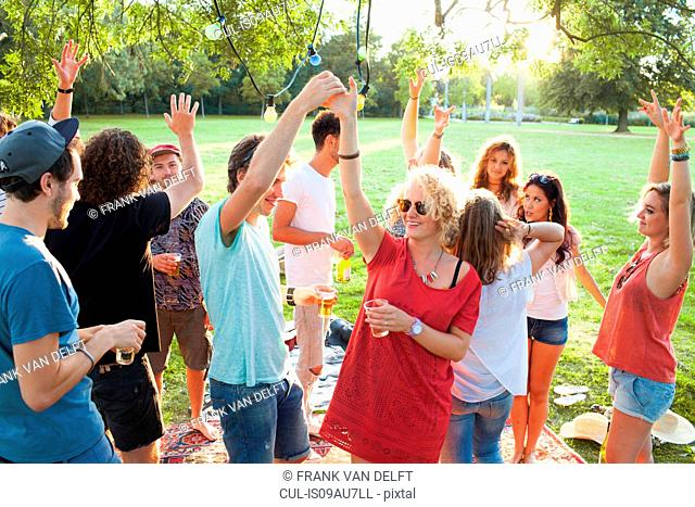 Crowd of adult friends dancing at party in park at sunset