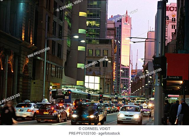 Downtown Sydney city in the evening, Australia