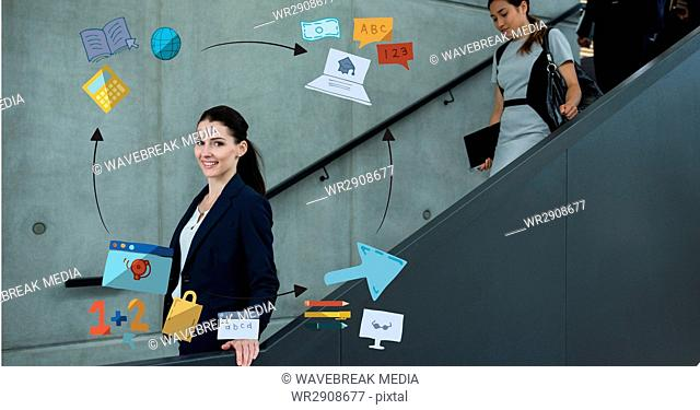 Digital composite image of businesswoman on elevator surrounded by icons