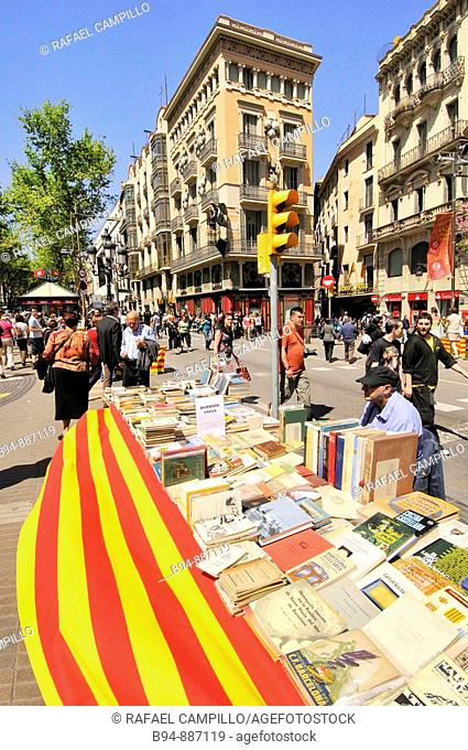 Book stalls in La Rambla, St George's Day Catalan holiday, Barcelona. Catalonia, Spain