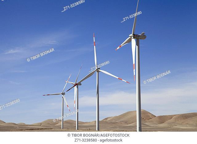 Chile, Antofagasta Region, Calama, wind turbines, generators, renewable energy,