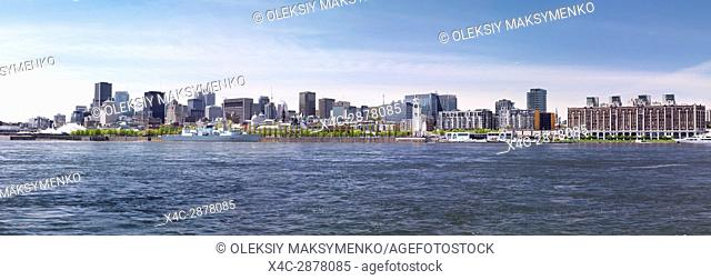 City of Montreal waterfront skyline panoramic daytime scenery, Quebec, Canada. Ville de Montréal, Québec, Canada 2017