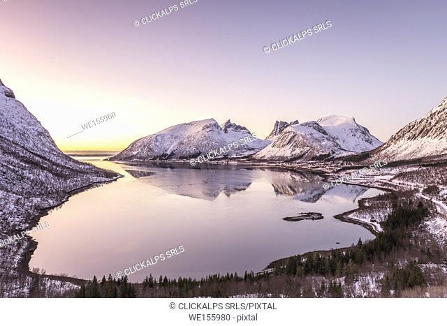 Sunset at Bergsbotn,Berg,Senja,Norway,Europe