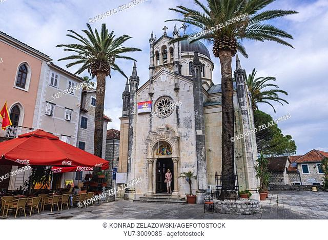 Serbian Orthodox Church of Michael the Archangel on Belavista Square on the Old Town in Herceg Novi city on the Adriatic Sea coast in Montenegro