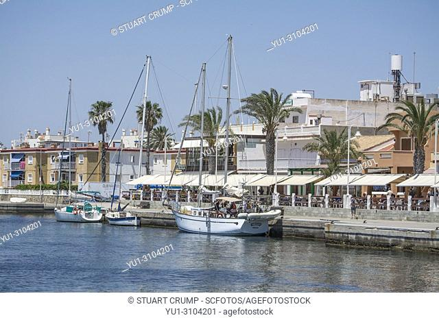Sail boats moared in the Harbour at Cabo de Palos in Murcia Spain