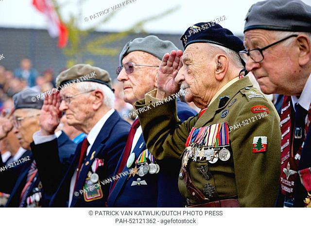 Veteran soldiers attend the 70th commemoration of operation Market Garden, the start of liberation in The Netherlands in September 1944, in the center of Driel