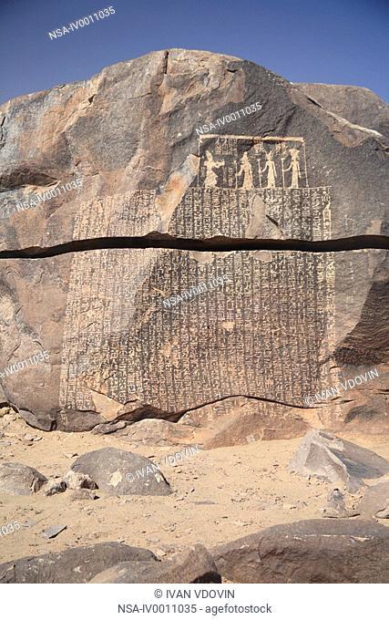 "Seheyl island near Aswan. 'Famine stele"" III-I c. BC, Egypt"