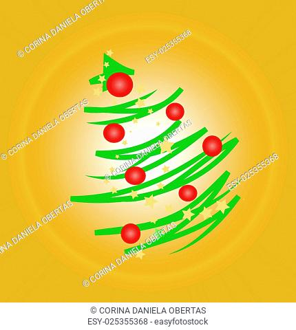 Modern stylized Christmas tree on orange background