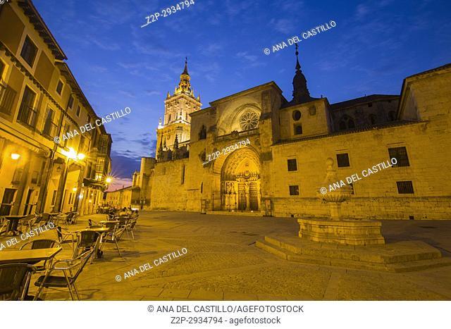 Cathedral by dusk in Burgo de Osma village Soria province Castile Leon Spain